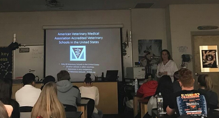 Barthlow gives a veterinary presentation to a Pre-Vet class
