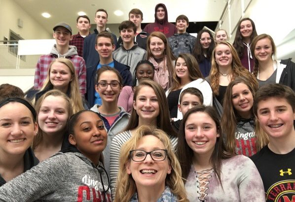 Mrs. Rebetsky's 9th grade English class poses for an end-of-semester selfie.