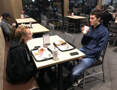 Seniors Kelsey Ward and Tommy Moyer dining at Chick-Fil-A  to support Safe and Sane.