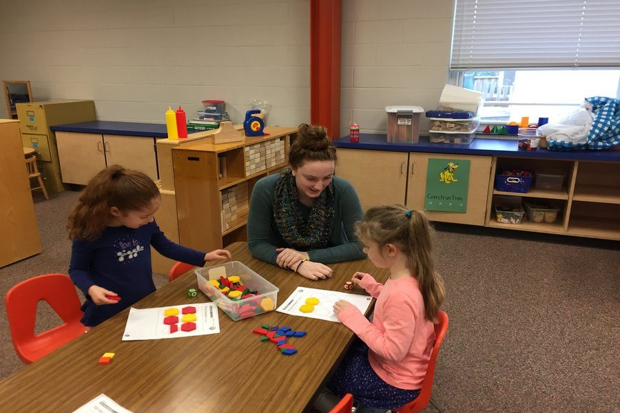 Natalie Kucsan works with children at her internship at New Market Elementary School.