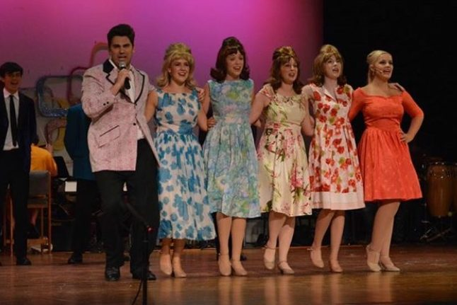 Cast members Alex Prete, Brooke Donald, Sydney Austin, Katie Johnson, Mackenzie Berry, and Sam Fox rehearse a number in a dress rehearsal for this past summer's production of,