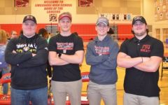 The Frostburg boys pose after the signing day event.