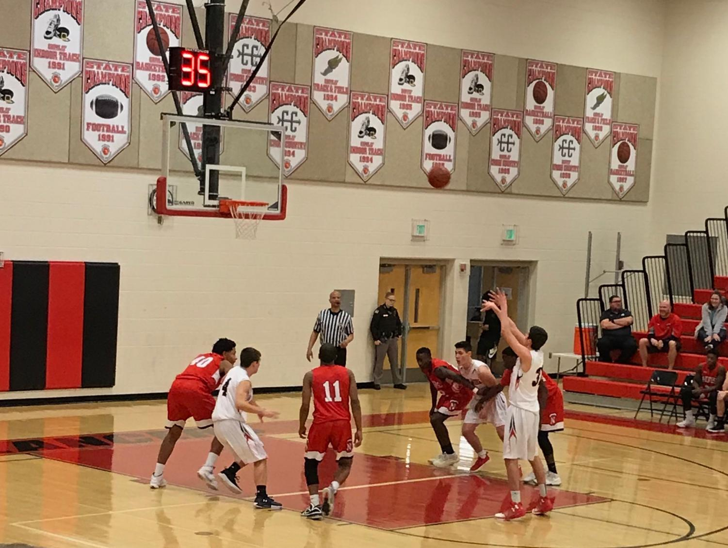 Senior Tommy Moyer shoots foul shot in game against North Hagerstown.