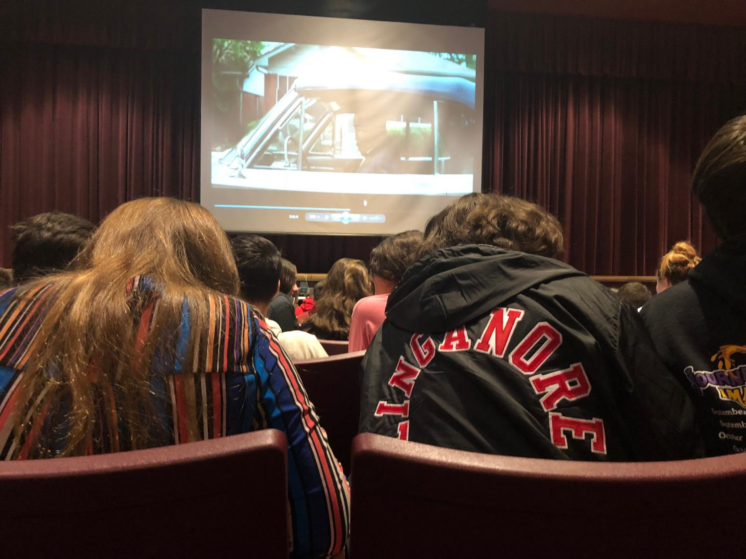 Students watch Hidden Figures during the SAT day.