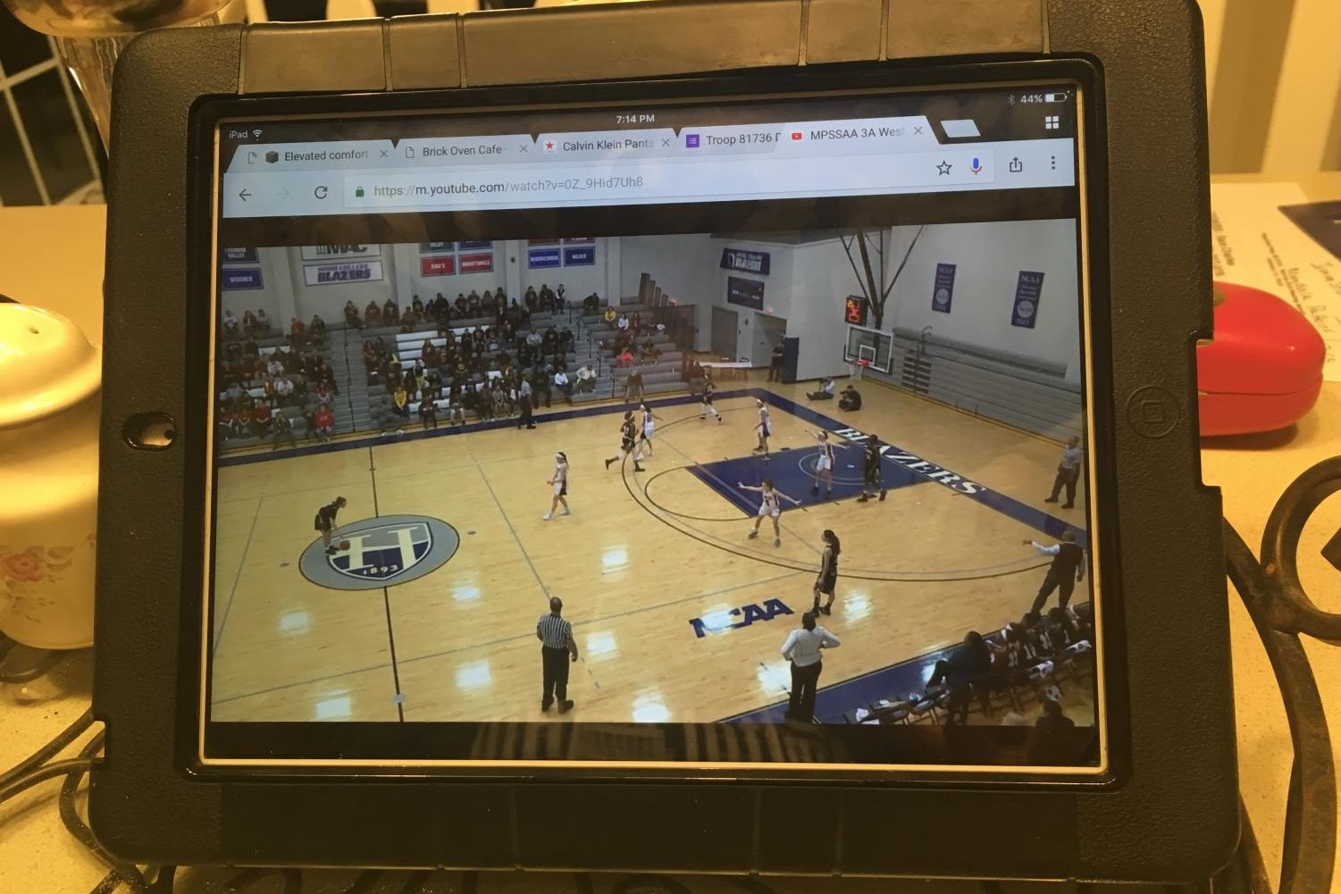 LHS students view the game live at home on iPad.
