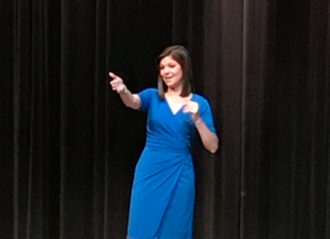 Local meteorologist Amelia Draper visits Lancer Lecture Series: Photo of the day 2/28/18