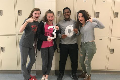 Kelsey Ward, Allison King, Devin Barge, and Bridget Murphy count down to the last day of school.