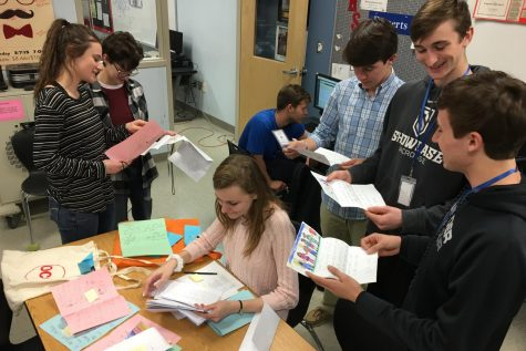 NEHS and NHS trade letters with first graders for annual pen pal activity