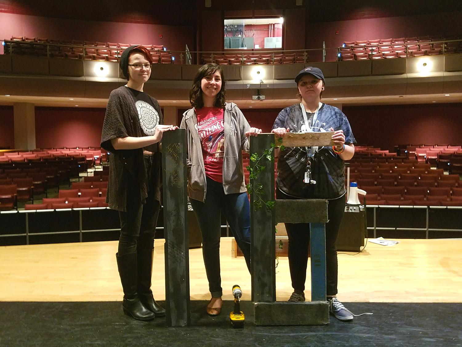 Techie seniors (from left to right: Abby Maloid, Rozmia Fattah, and Shayden Jamison) pose on stage for day 16 of the countdown