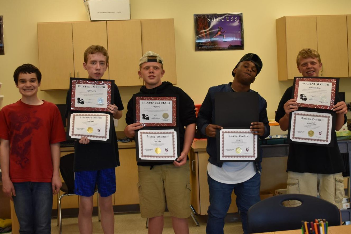 Learning for Life students celebrate winning academic awards.