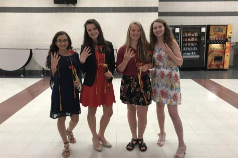 Sapnish Honor Society Officers, Carolyn Payne, Hannah Lemen, Lily Espino and Katie Thomas celebrate having four days left.