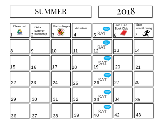 Summer calendar showcases important tasks to do to succeed.