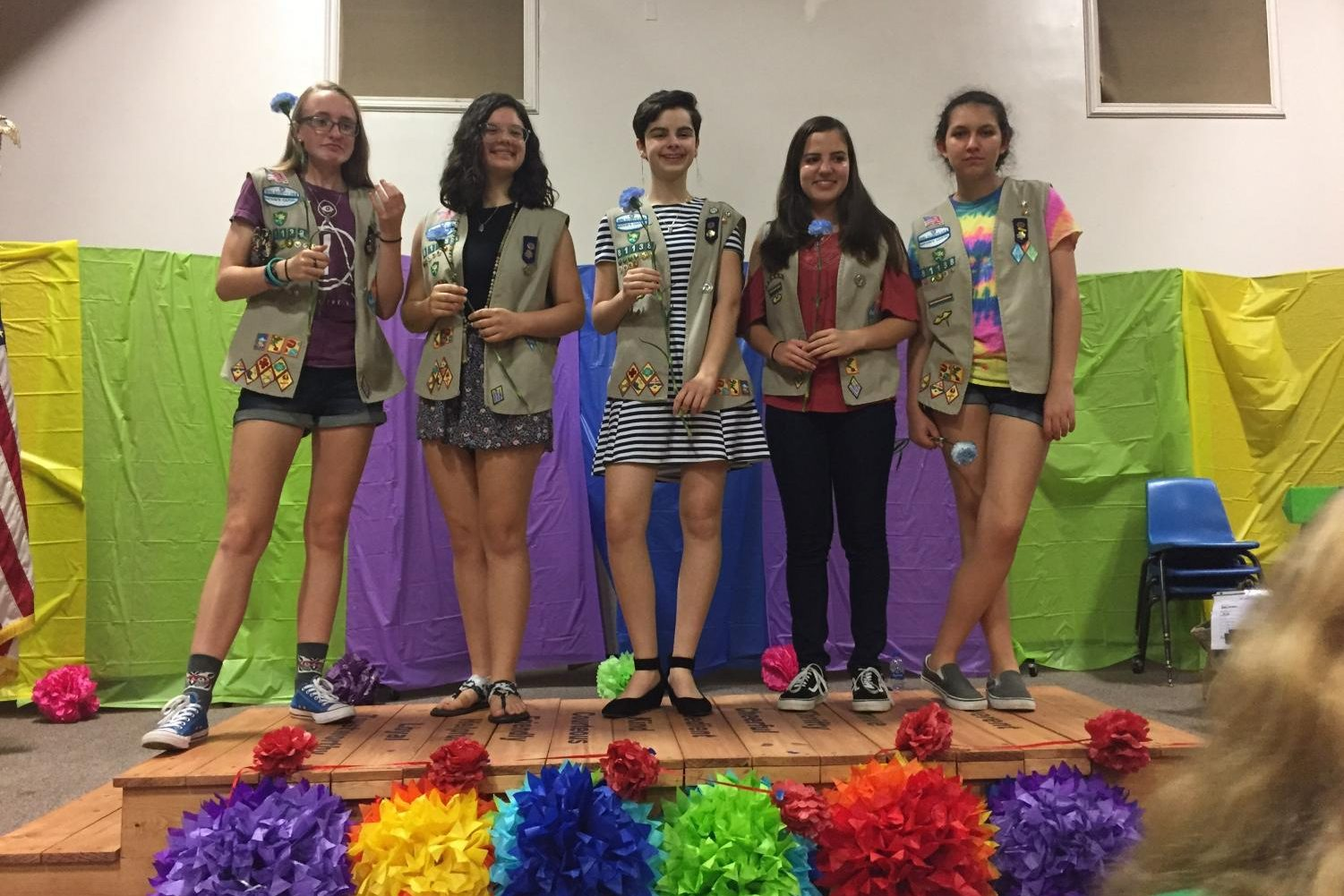 Alyson Sniffen, second from left, poses on bridge after Girl Scout bridging ceremony with Abbey Parker, Dana Kullgren, Yesenia Montenegro, and Keekee Myers