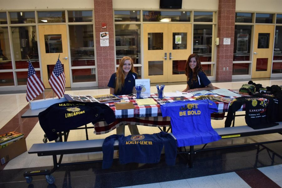 Nicole Mueller, president of the FFA, is prepared to talk to students about the FFA.
