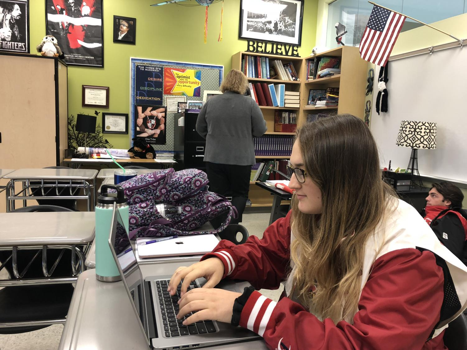Senior Rachel Freeman uses her Chromebook in PREP.