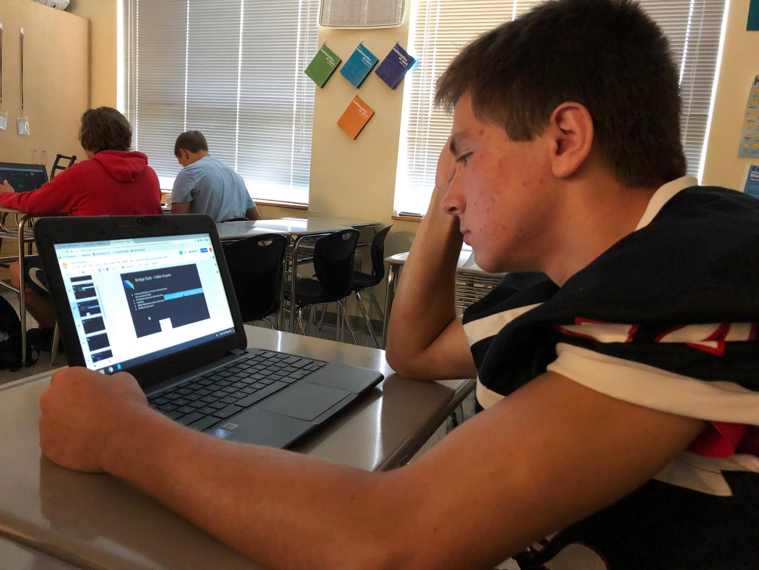 Junior Nick Hayslett works in PREP to finish his homework on time.