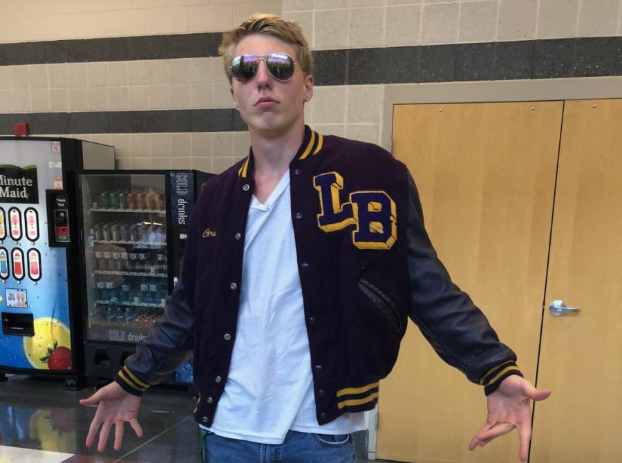 Christian Nolan celebrates Way Back Tuesday--he wore the his father's letterman jacket.