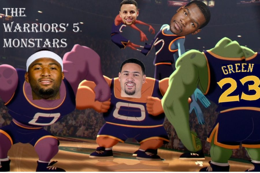 The five Warriors players represented as Space Jam Monstars.