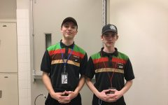 Jacob Smith and John Grimes show off their burger king uniforms!