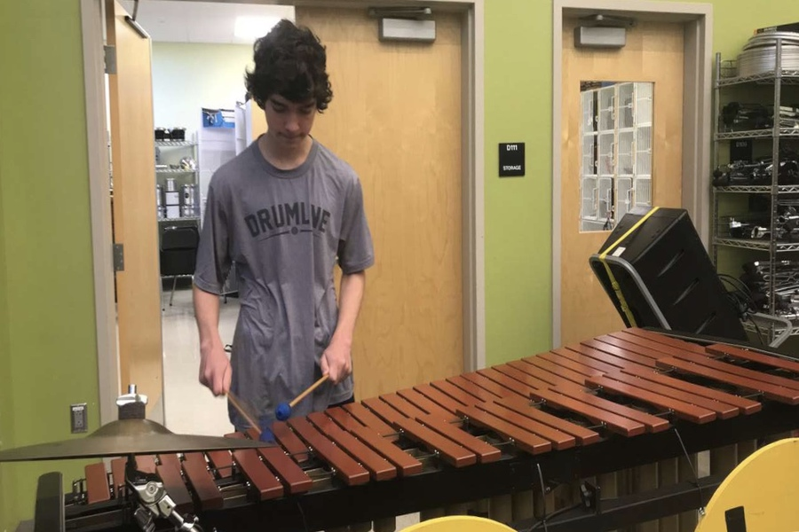 Nick Condrasky practices the marimba before his audition.