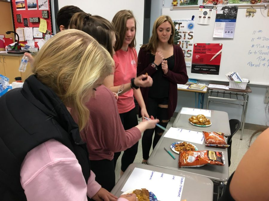 Lancer Media students trying the different pumpkin spiced foods.