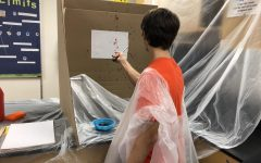 Forensics classes learn about blood spatter