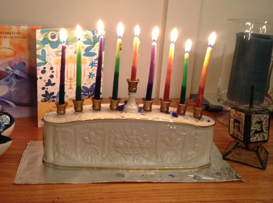 After all eight nights, the menorah burns brigthly