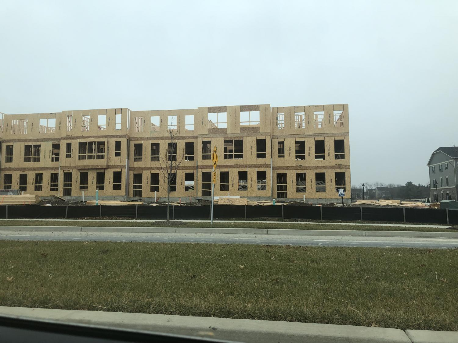 Townhouses are under construction near Oakdale High School.