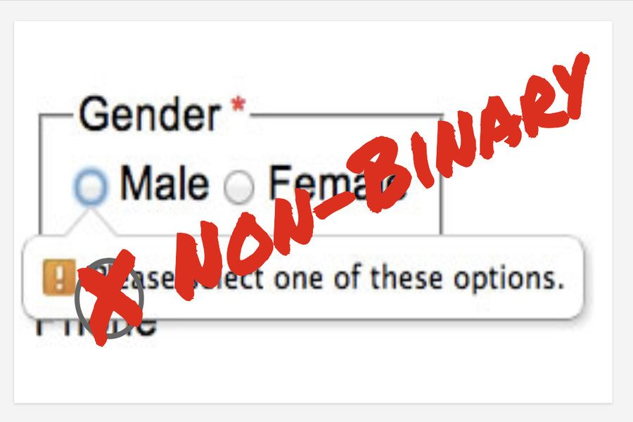 A third option is necessary when selecting gender on school-related forms.