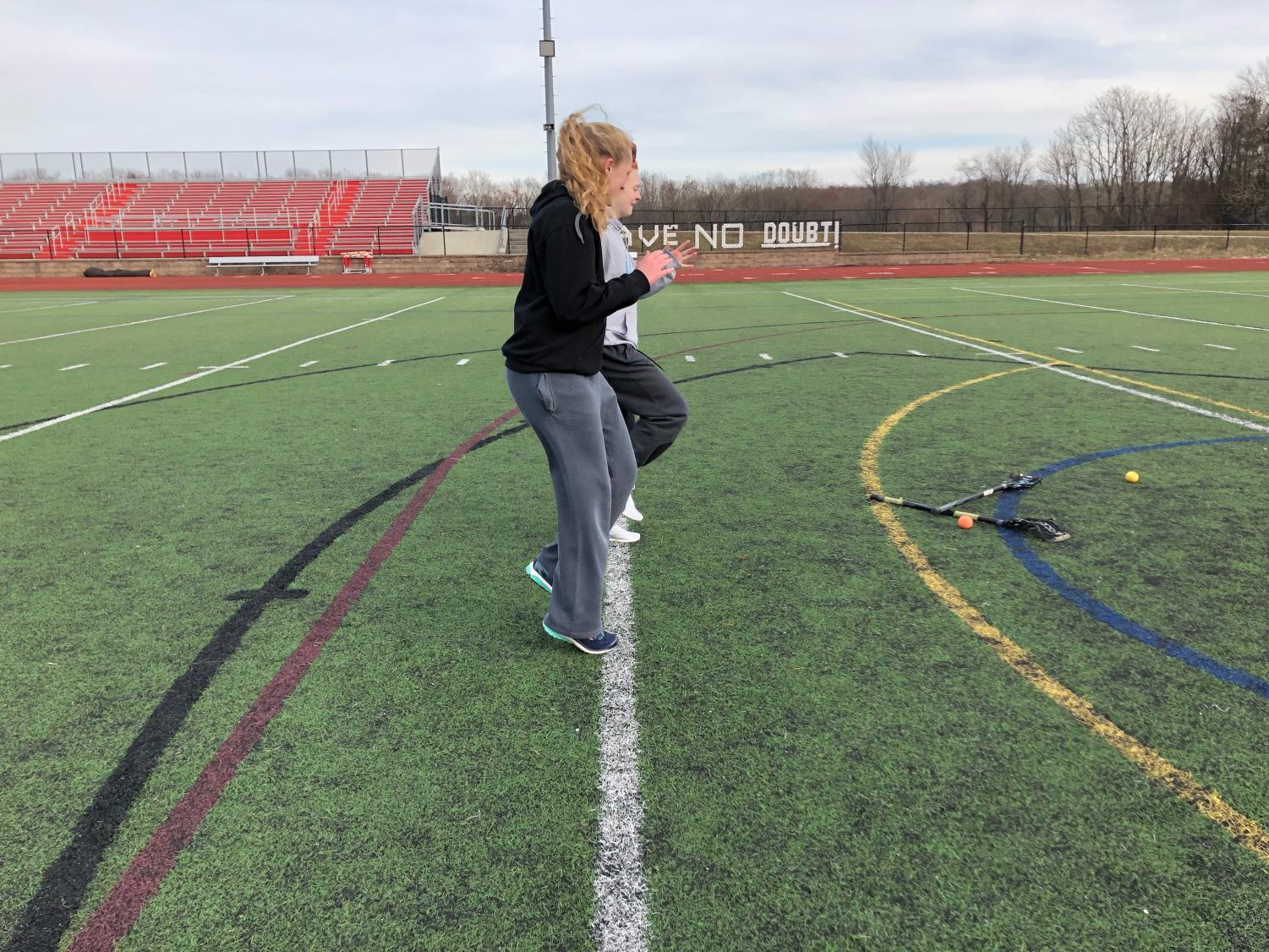 Sophomore Ella McCaffrey practices drills for her upcoming season at True AP.