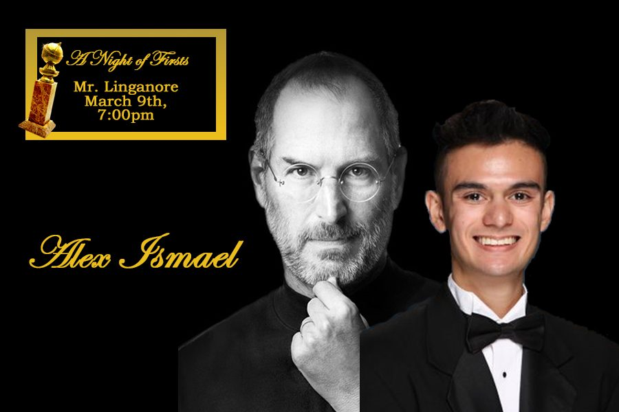 Alex+Ismael+portrays+Steve+Jobs+in+the+Mr.+Linganore+competition.