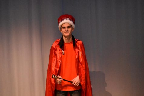 Noah Price dressed as royalty after being named Mr. Linganore