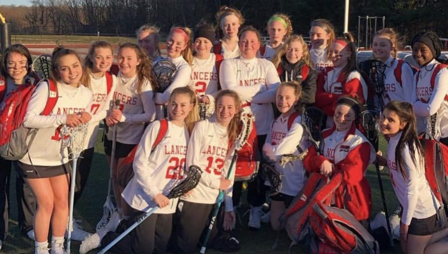 Girls JV lacrosse after their season opener against the Frederick Cadets.
