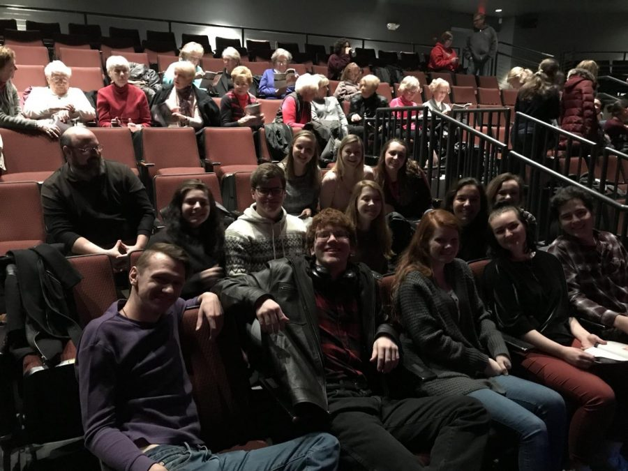 Mrs. Smithhisler's Drama class before the start of the show.