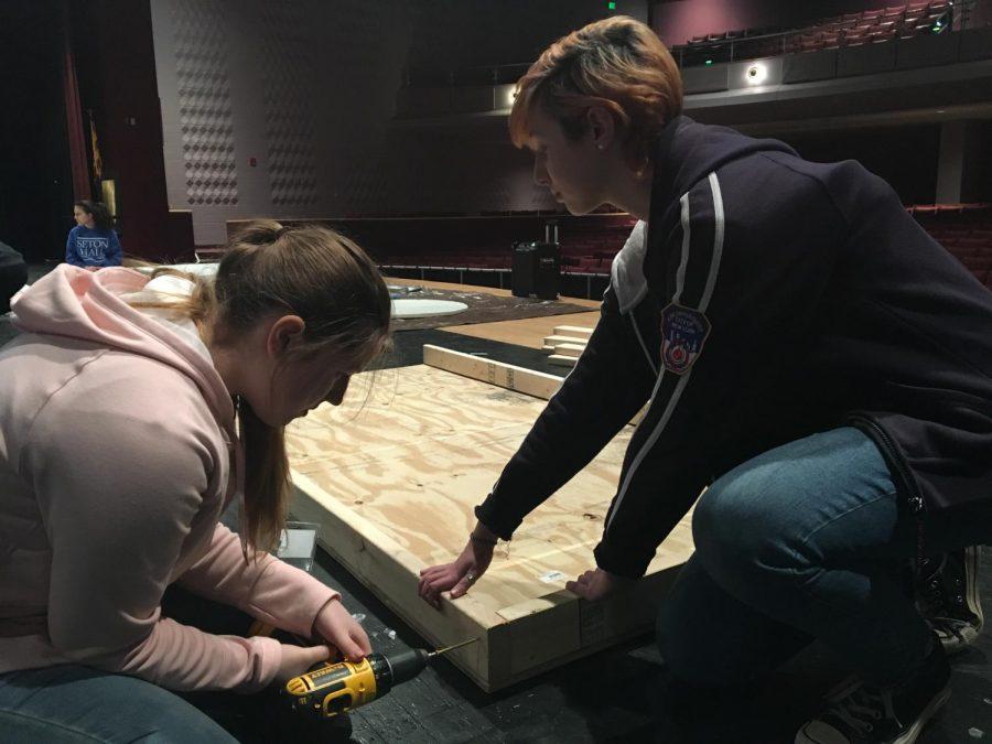 Junior Olivia Pietanza and freshman Elena Everett work together to finish a set piece.