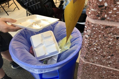 Students incorrectly dispose of Styrofoam.