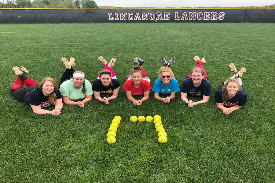 Seniors MaKenzie Llewellyn, Emily Day, Sam Everett, Annabelle Stone, Makayla Glock, Courtney Larrick, and Paige Wilhelm pose for 17 days left of school.