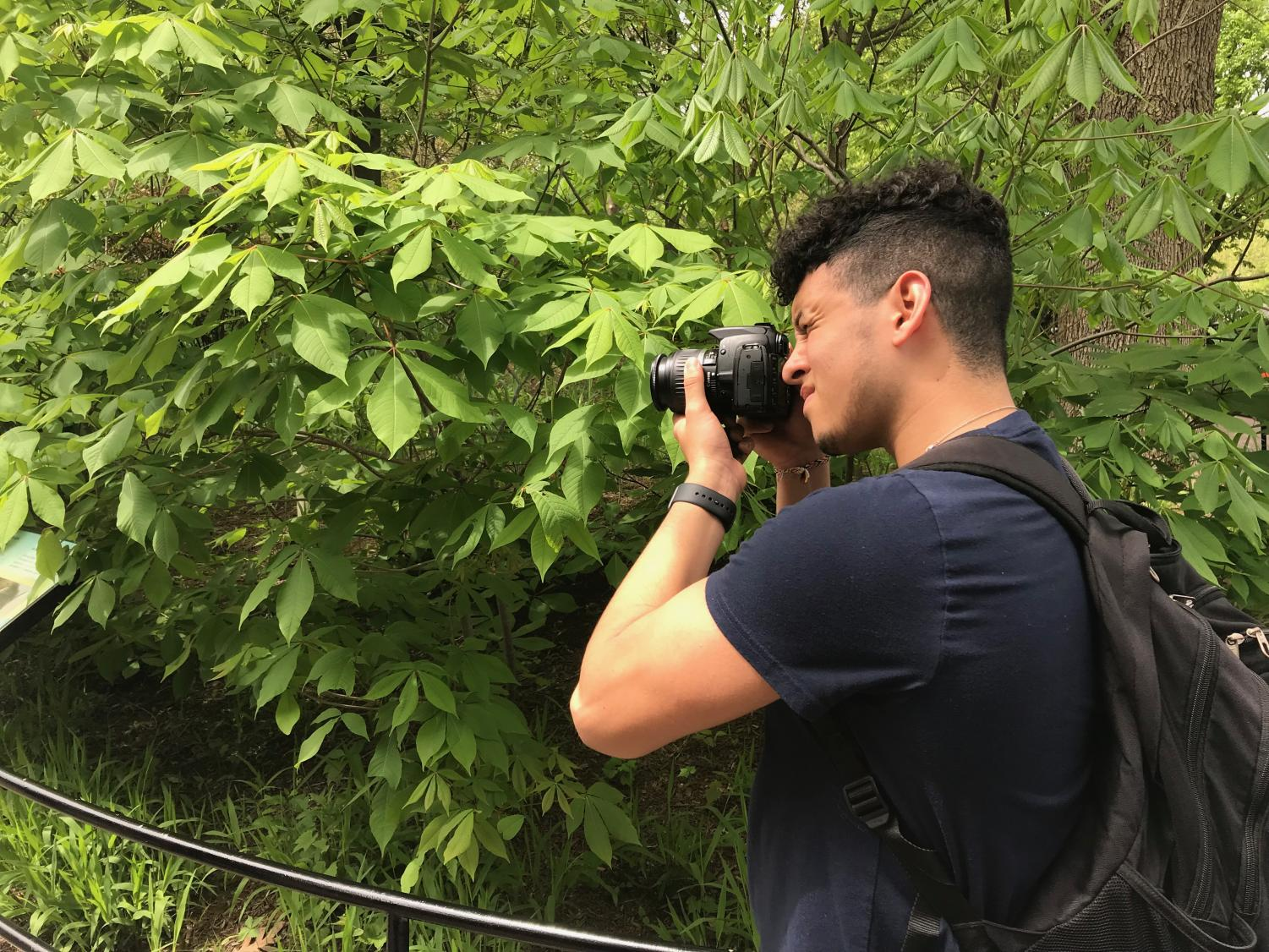 Julian Rodriguez takes a picture for his gallery.