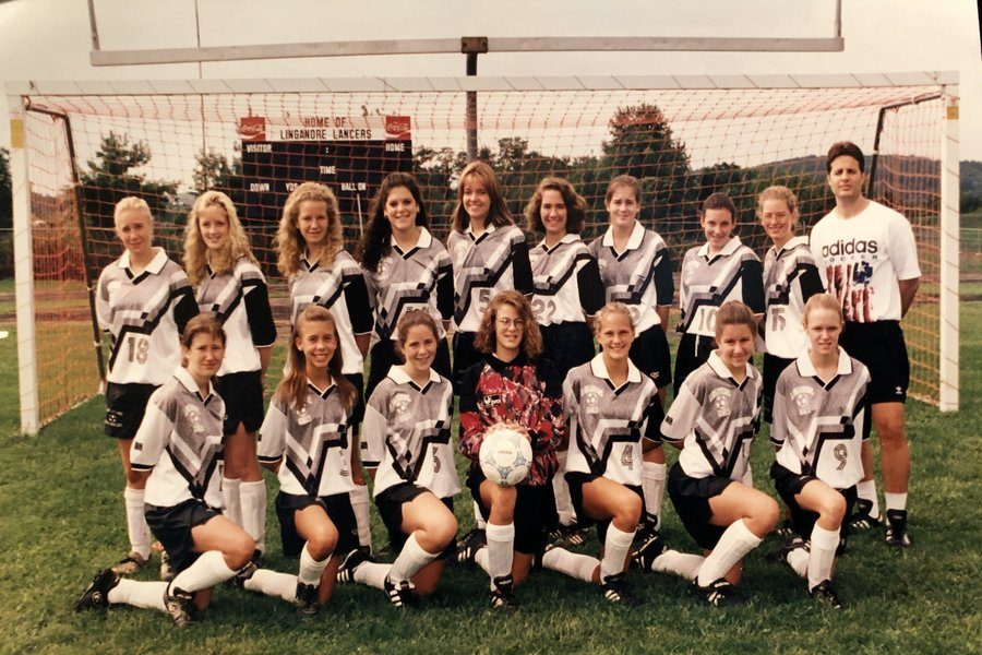 Mark+Lastova+coaches+the+Linganore+girls+soccer+team+in+the+late+1990s.+