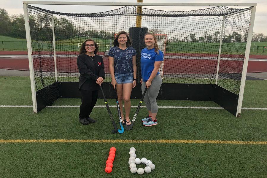 Seniors Julia Cencetti, Morgan Mathews, and Paige Wilhelm celebrate 16 days left.