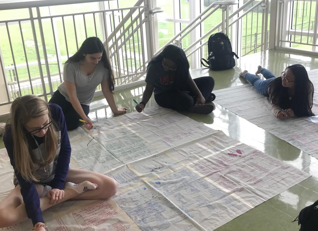 Madi Tranchitella, Emily Digiovanni, Maya Apau, and Valerie Ducos work on their shower curtain project.