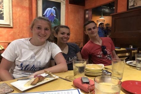 Olivia Hiltke, Savannah Sitler and Noah Price enjoy dinner at Isabella's.