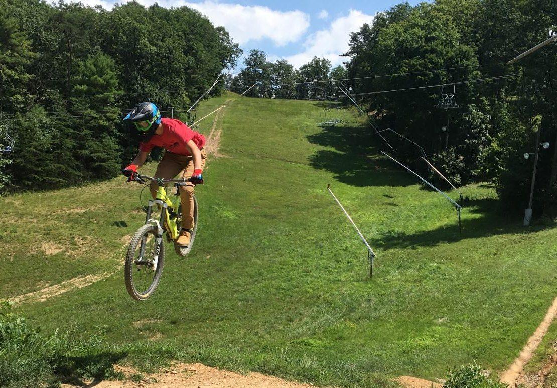 Jake Muller races his mountain bike.