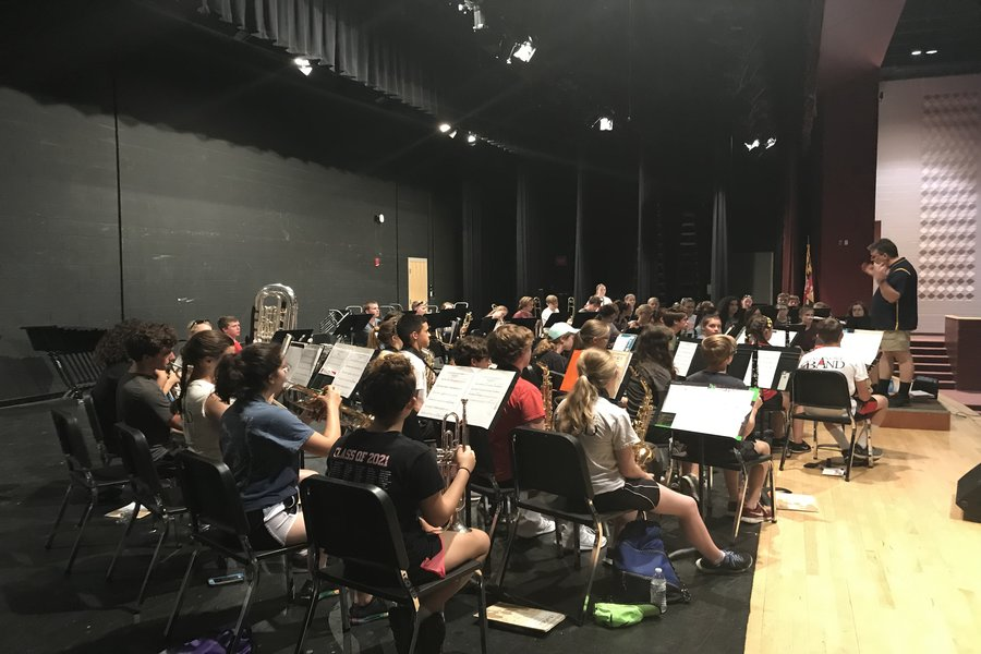 Linganore band practices new music.