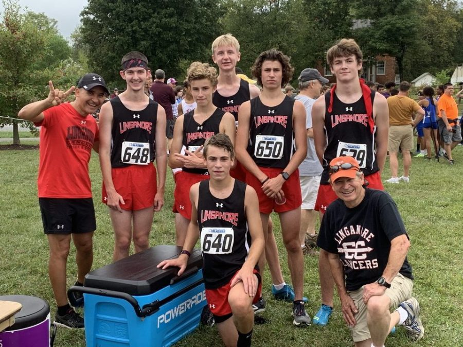 Linganore XC takes a team photo after a well fought race for the team.