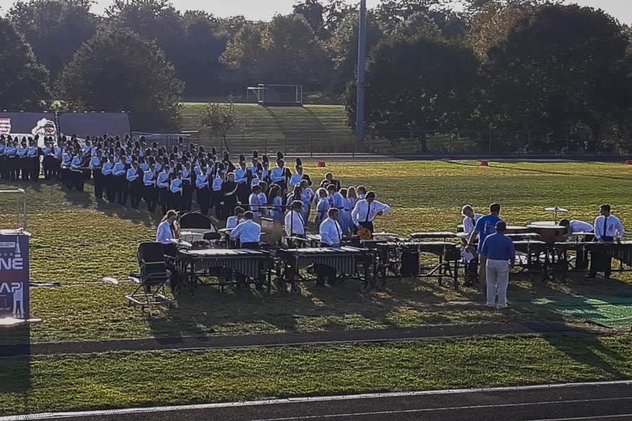 The marching band lines up to start their performance for the U.S. band competition.