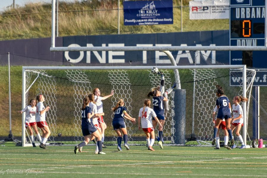 Goalkeeping from Urbana saves a Lancer goal.