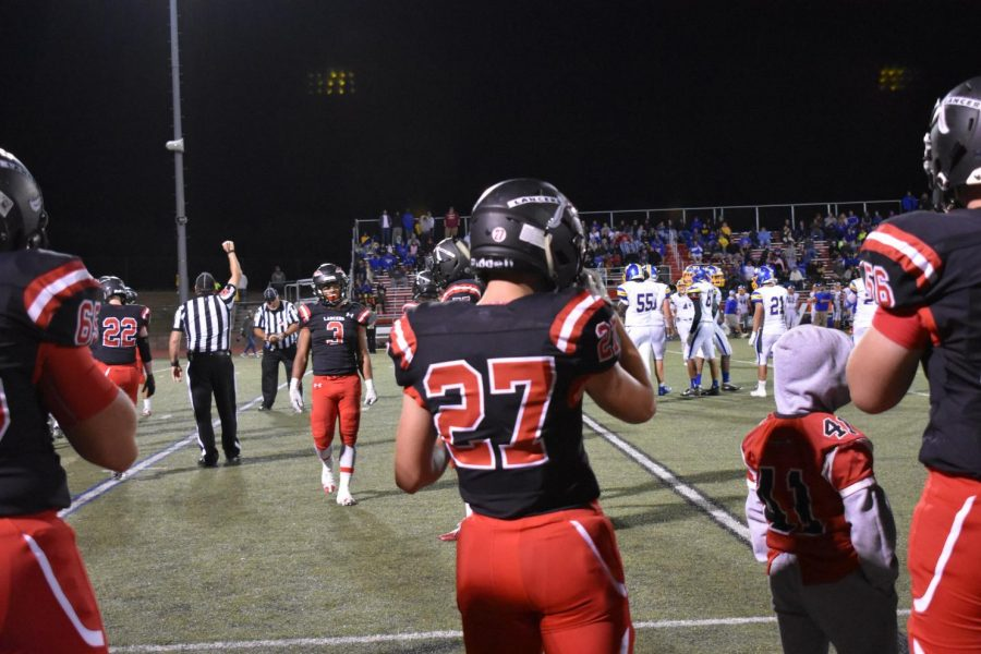 Ethan Blache prepares to play special teams in Friday night's football game