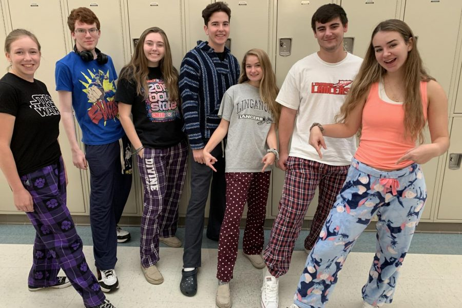 Monday: The first day of spirit week welcomed PJ Day for stressed out students. Lancer Media gets comfy in their PJs (L to R: Elizabeth Anderson, Tommy French, Maddy Hull, Jacob Blue, Alexis Fowler, Ethan Hart, and Leah Bolger).