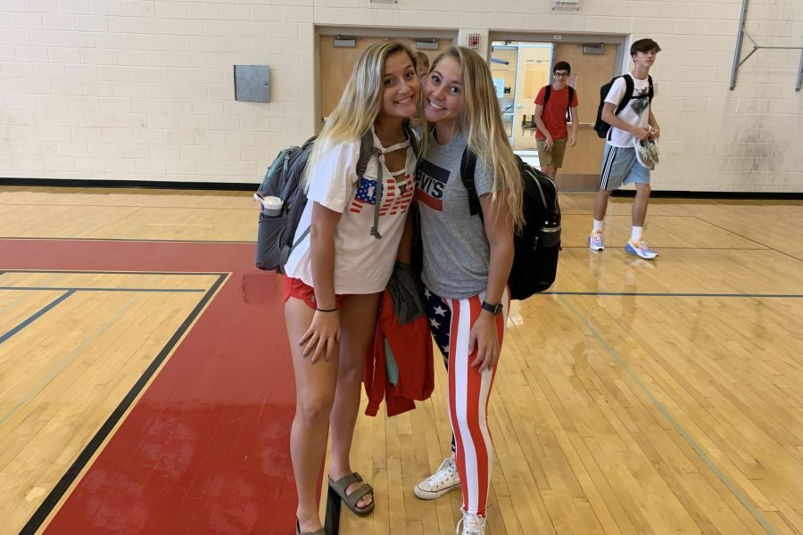 Tuesday: Seniors Kayla Freeman and Taylor Biss show off their American pride for USA Day.